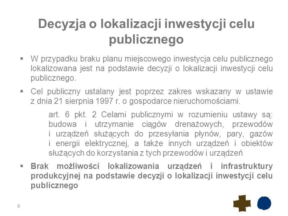 Decyzja o lokalizacji inwestycji celu publicznego  W przypadku braku planu miejscowego inwestycja celu publicznego lokalizowana jest na podstawie decyzji o lokalizacji inwestycji celu publicznego.