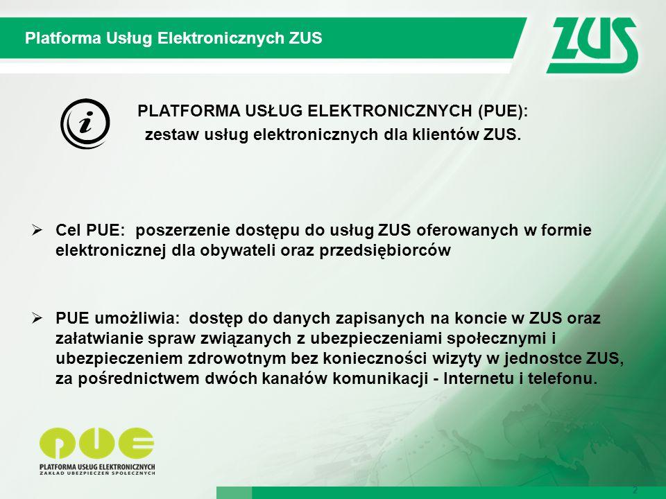 3 Platforma Usług Elektronicznych ZUS 3 Platforma Usług Elektronicznych to:  Portal PUE – zapewnia dostęp do danych zapisanych na koncie w ZUS, umożliwia m.in.