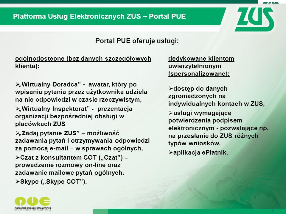 """4 Platforma Usług Elektronicznych ZUS – Portal PUE 4 Portal PUE oferuje usługi: ogólnodostępne (bez danych szczegółowych klienta):  """"Wirtualny Doradc"""