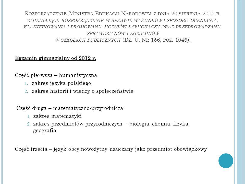 R OZPORZĄDZENIE M INISTRA E DUKACJI N ARODOWEJ Z DNIA 20 SIERPNIA 2010 R.