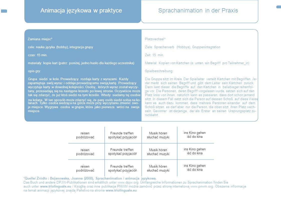 Animacja językowa w praktyce Zamiana miejsc* cele: nauka języka (hobby), integracja grupy czas: 15 min. materiały: kopie kart (patrz: poniżej, jedno h