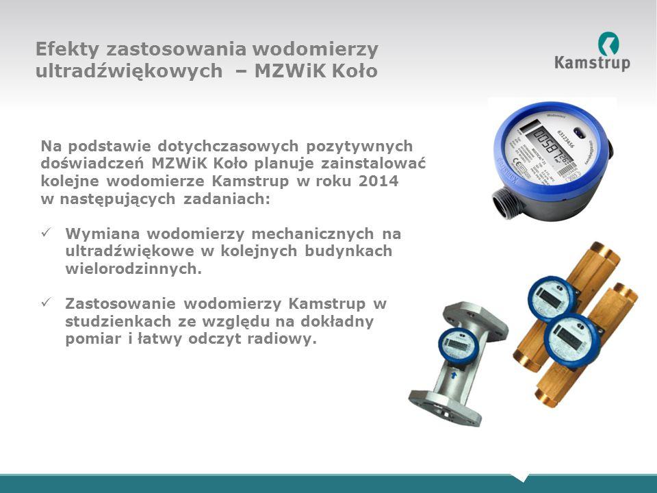 Na podstawie dotychczasowych pozytywnych doświadczeń MZWiK Koło planuje zainstalować kolejne wodomierze Kamstrup w roku 2014 w następujących zadaniach