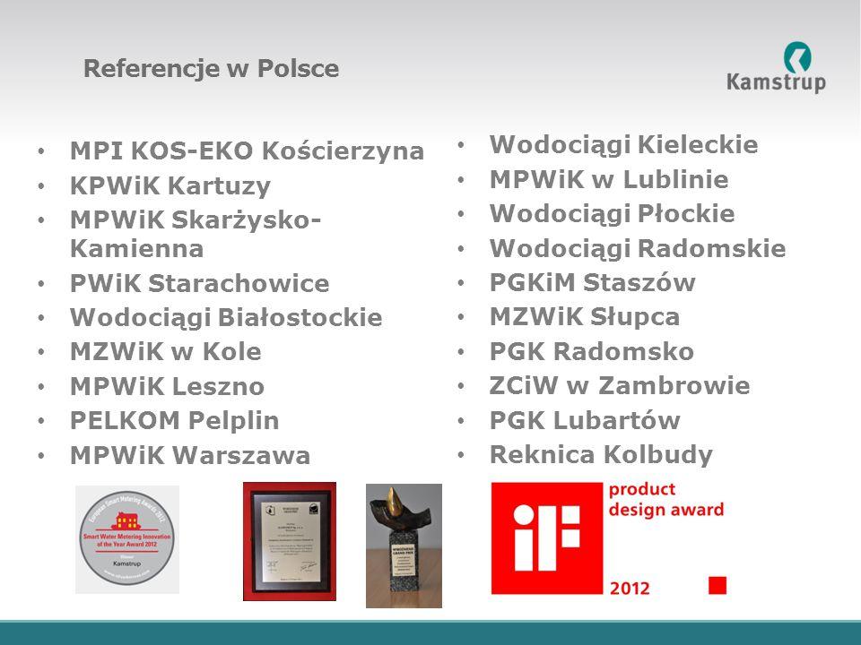 Referencje w Polsce MPI KOS-EKO Kościerzyna KPWiK Kartuzy MPWiK Skarżysko- Kamienna PWiK Starachowice Wodociągi Białostockie MZWiK w Kole MPWiK Leszno