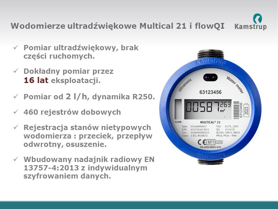 Pomiar ultradźwiękowy, brak części ruchomych. Dokładny pomiar przez 16 lat eksploatacji. Pomiar od 2 l/h, dynamika R250. 460 rejestrów dobowych Rejest