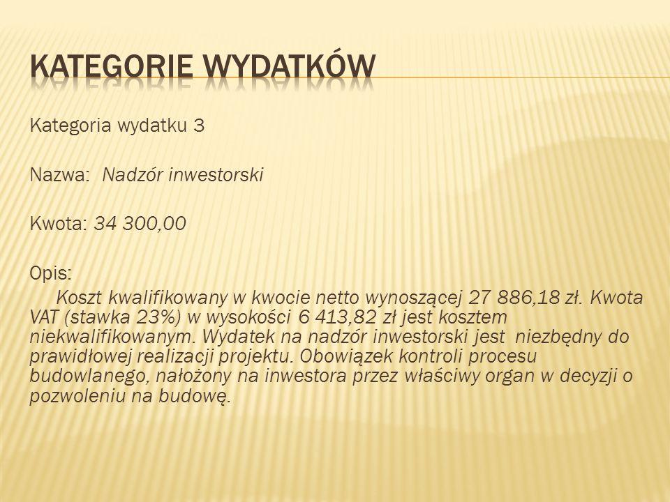 Kategoria wydatku 3 Nazwa: Nadzór inwestorski Kwota: 34 300,00 Opis: Koszt kwalifikowany w kwocie netto wynoszącej 27 886,18 zł. Kwota VAT (stawka 23%