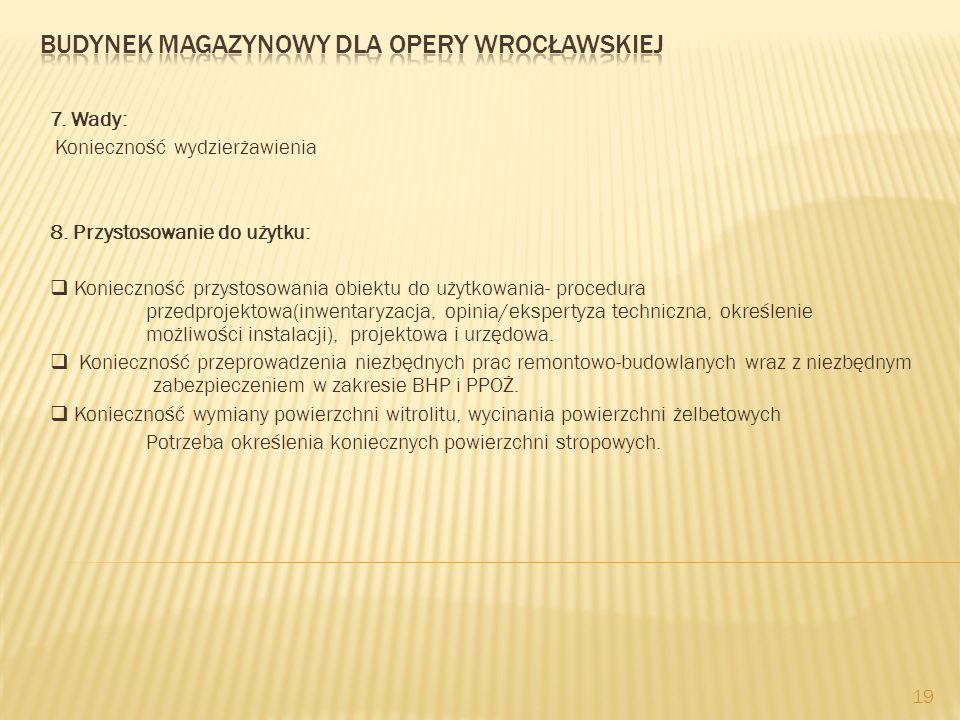 7. Wady: Konieczność wydzierżawienia 8. Przystosowanie do użytku:  Konieczność przystosowania obiektu do użytkowania- procedura przedprojektowa(inwen
