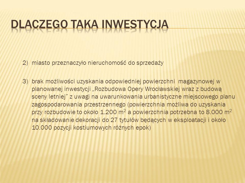 """2)miasto przeznaczyło nieruchomość do sprzedaży 3)brak możliwości uzyskania odpowiedniej powierzchni magazynowej w planowanej inwestycji """"Rozbudowa Op"""