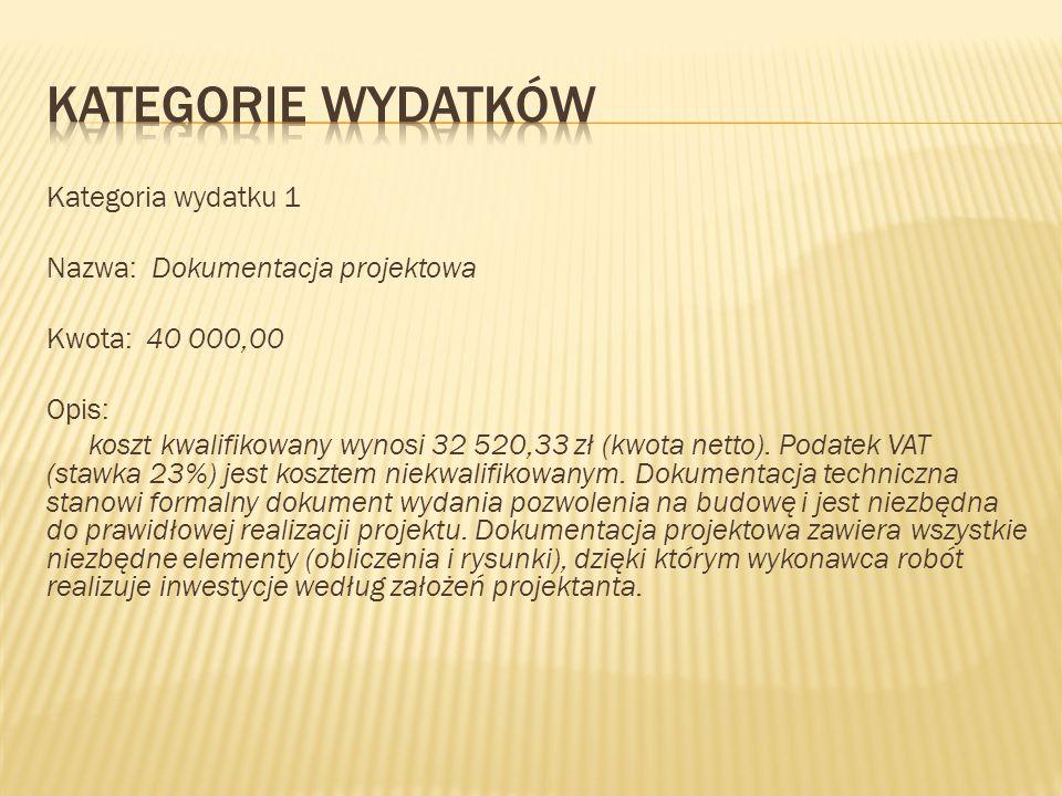 Kategoria wydatku 1 Nazwa: Dokumentacja projektowa Kwota: 40 000,00 Opis: koszt kwalifikowany wynosi 32 520,33 zł (kwota netto). Podatek VAT (stawka 2