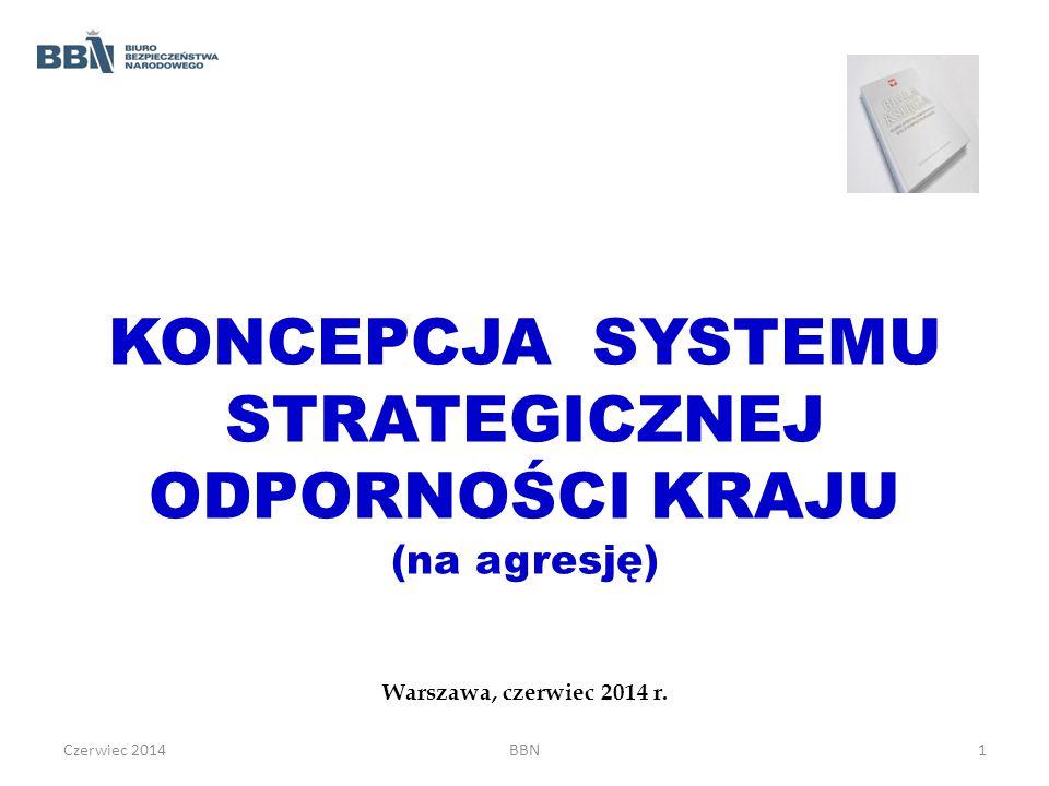 KONCEPCJA SYSTEMU STRATEGICZNEJ ODPORNOŚCI KRAJU (na agresję) Warszawa, czerwiec 2014 r. Czerwiec 2014BBN1