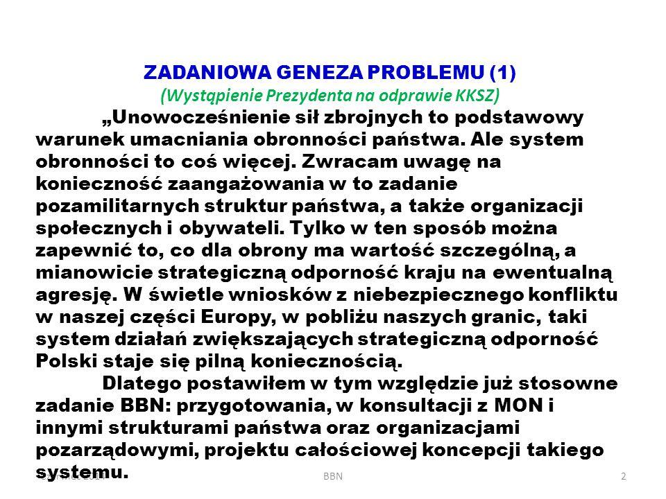 """Czerwiec 2014BBN2 ZADANIOWA GENEZA PROBLEMU (1) (Wystąpienie Prezydenta na odprawie KKSZ) """"Unowocześnienie sił zbrojnych to podstawowy warunek umacnia"""