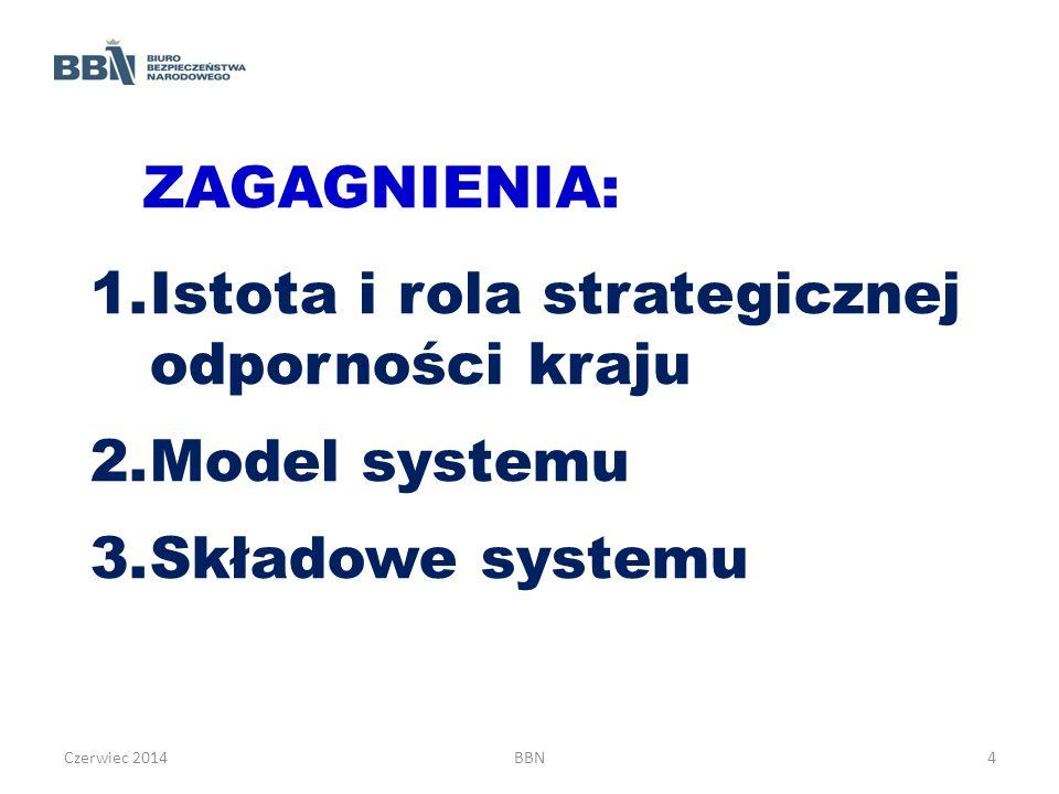 ZAGAGNIENIA: 1.Istota i rola strategicznej odporności kraju 2.Model systemu 3.Składowe systemu Czerwiec 2014BBN4