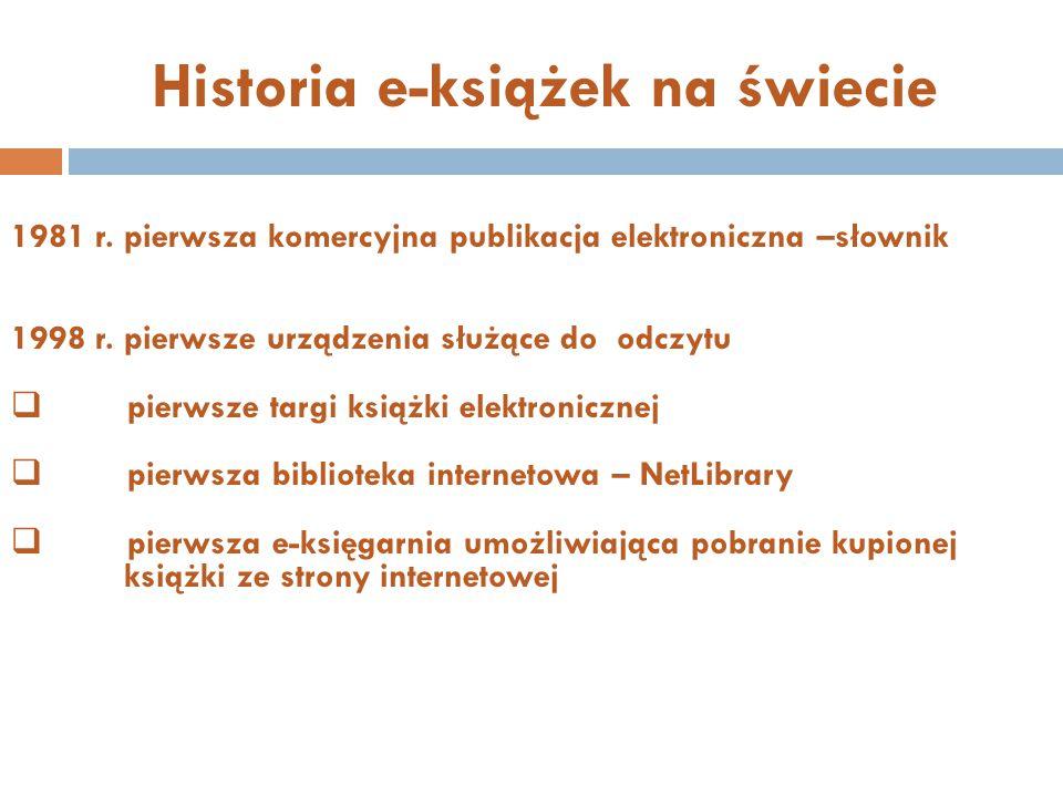 Historia e-książek na świecie 1981 r.pierwsza komercyjna publikacja elektroniczna –słownik 1998 r.
