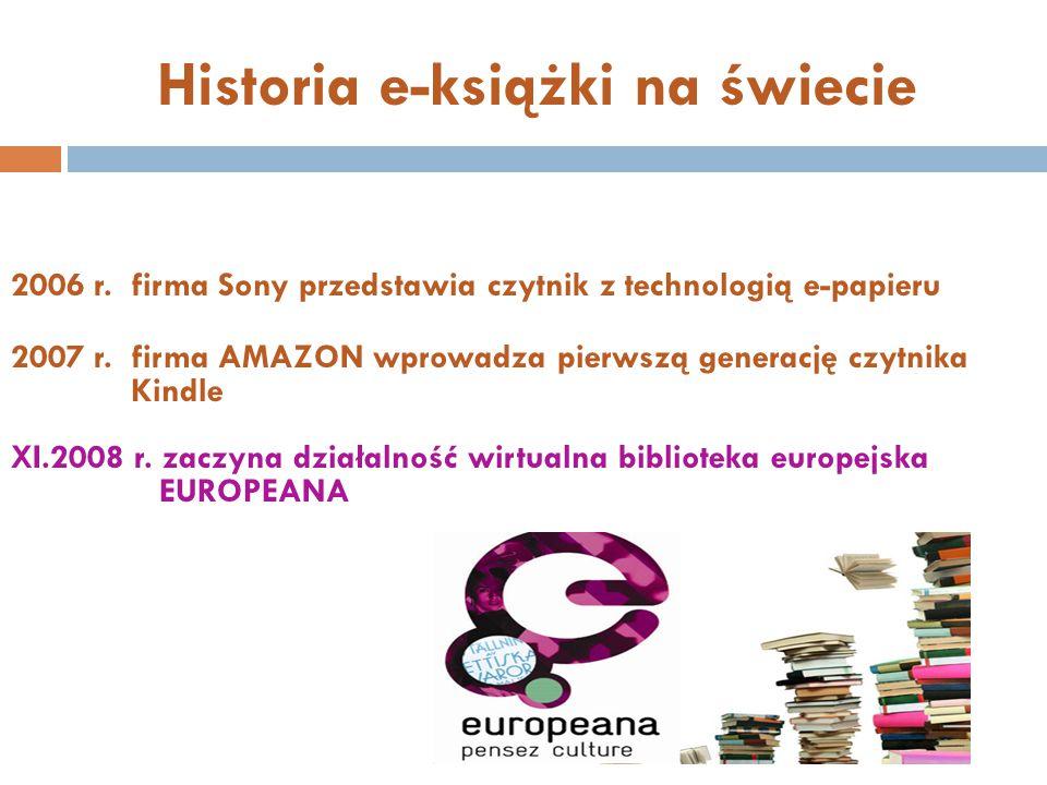 Historia e-książki na świecie 2006 r. firma Sony przedstawia czytnik z technologią e-papieru 2007 r. firma AMAZON wprowadza pierwszą generację czytnik