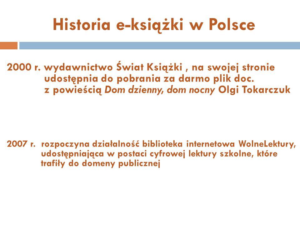 Historia e-książki w Polsce 2000 r. wydawnictwo Świat Książki, na swojej stronie udostępnia do pobrania za darmo plik doc. z powieścią Dom dzienny, do