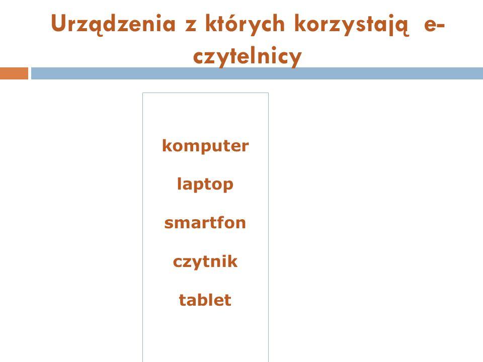 Urządzenia z których korzystają e- czytelnicy komputer laptop smartfon czytnik tablet