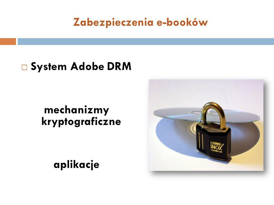 Zabezpieczenia e-booków  System Adobe DRM mechanizmy kryptograficzne aplikacje