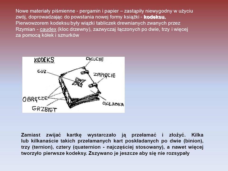 kodeksu. Nowe materiały piśmienne - pergamin i papier – zastąpiły niewygodny w użyciu zwój, doprowadzając do powstania nowej formy książki - kodeksu.