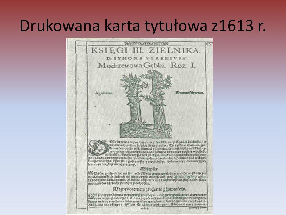 Drukowana karta tytułowa z1613 r.