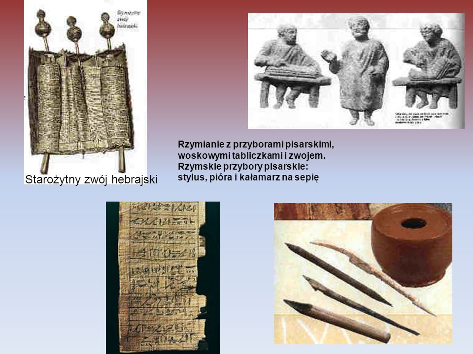 Rzymianie z przyborami pisarskimi, woskowymi tabliczkami i zwojem. Rzymskie przybory pisarskie: stylus, pióra i kałamarz na sepię Starożytny zwój hebr