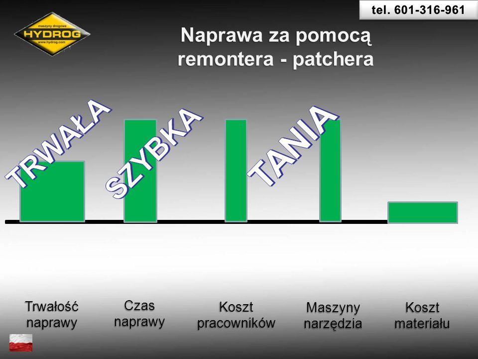 Trwałośćnaprawy Czasnaprawy Koszt pracowników Maszynynarzędzia Koszt materiału Naprawa za pomocą remontera - patchera