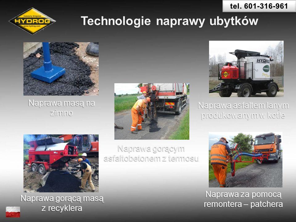 Naprawa asfaltem lanym produkowanym w kotle Technologie naprawy ubytków Naprawa masą na zimno Naprawa gorącą masą z recyklera Naprawa gorącym asfaltob