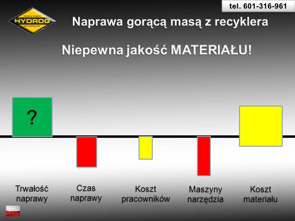Trwałośćnaprawy Czasnaprawy Koszt pracowników Maszynynarzędzia Koszt materiału ? Naprawa gorącą masą z recyklera Niepewna jakość MATERIAŁU!