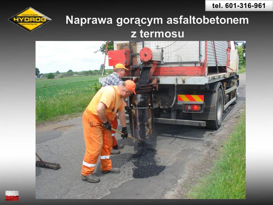 Naprawa gorącym asfaltobetonem z termosu