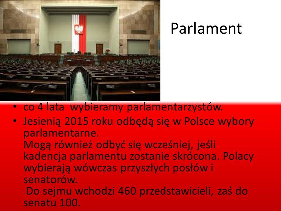 Parlament co 4 lata wybieramy parlamentarzystów. Jesienią 2015 roku odbędą się w Polsce wybory parlamentarne. Mogą również odbyć się wcześniej, jeśli