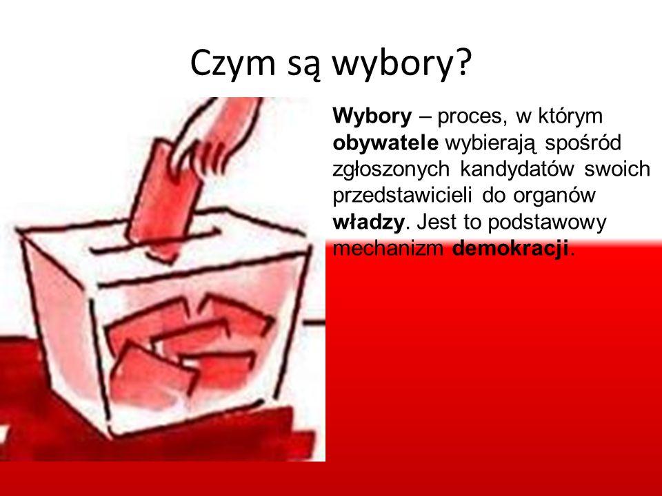 Czym są wybory? Wybory – proces, w którym obywatele wybierają spośród zgłoszonych kandydatów swoich przedstawicieli do organów władzy. Jest to podstaw