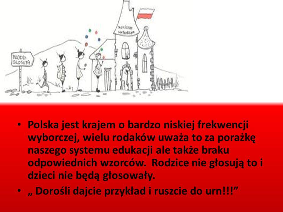 Polska jest krajem o bardzo niskiej frekwencji wyborczej, wielu rodaków uważa to za porażkę naszego systemu edukacji ale także braku odpowiednich wzor