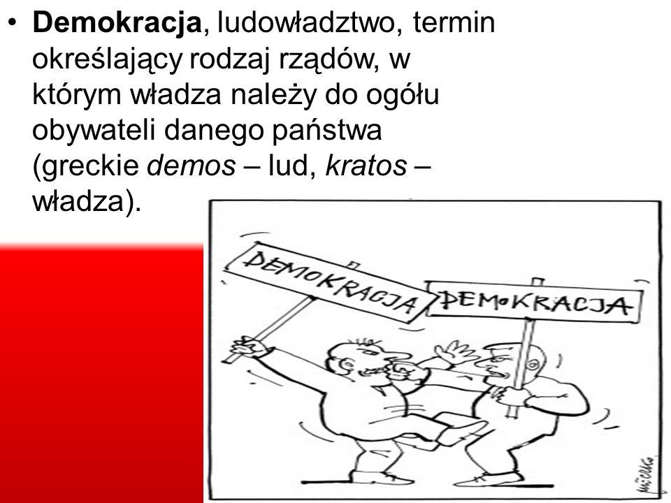 Demokracja, ludowładztwo, termin określający rodzaj rządów, w którym władza należy do ogółu obywateli danego państwa (greckie demos – lud, kratos – wł
