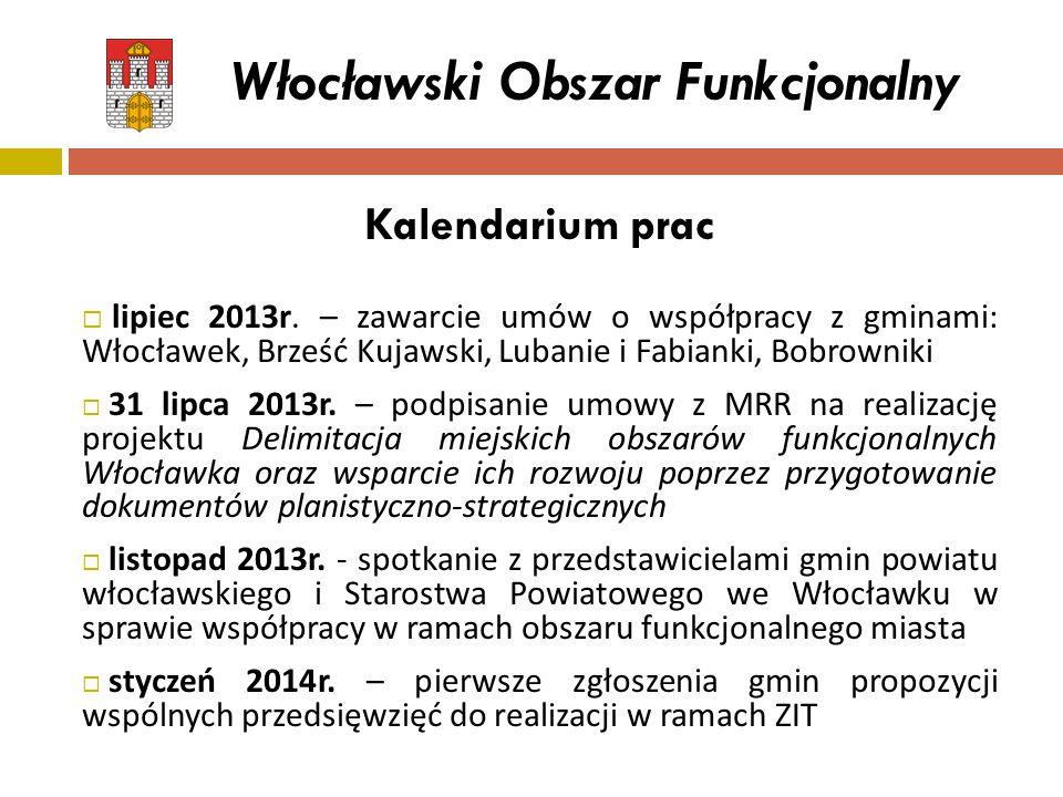 Kalendarium prac  lipiec 2013r. – zawarcie umów o współpracy z gminami: Włocławek, Brześć Kujawski, Lubanie i Fabianki, Bobrowniki  31 lipca 2013r.