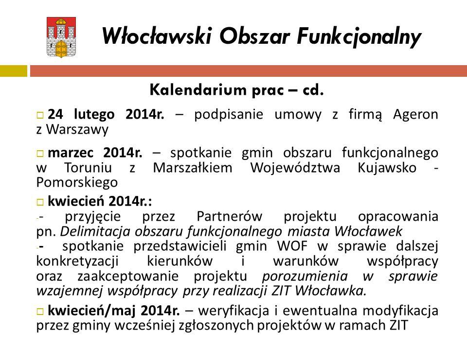 Kalendarium prac – cd.  24 lutego 2014r. – podpisanie umowy z firmą Ageron z Warszawy  marzec 2014r. – spotkanie gmin obszaru funkcjonalnego w Torun