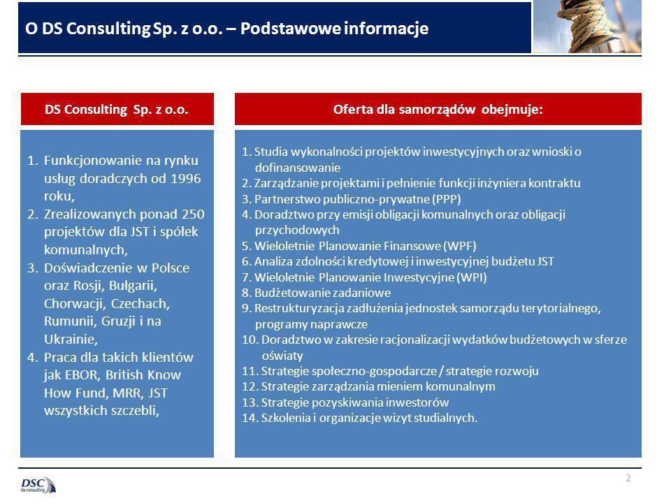 O DS Consulting Sp. z o.o. – Podstawowe informacje 1.Funkcjonowanie na rynku usług doradczych od 1996 roku, 2.Zrealizowanych ponad 250 projektów dla J