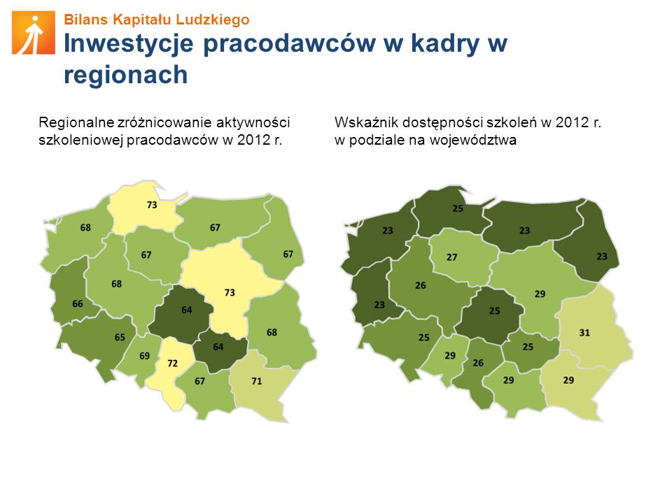 Bilans Kapitału Ludzkiego Inwestycje pracodawców w kadry w regionach Wskaźnik dostępności szkoleń w 2012 r.