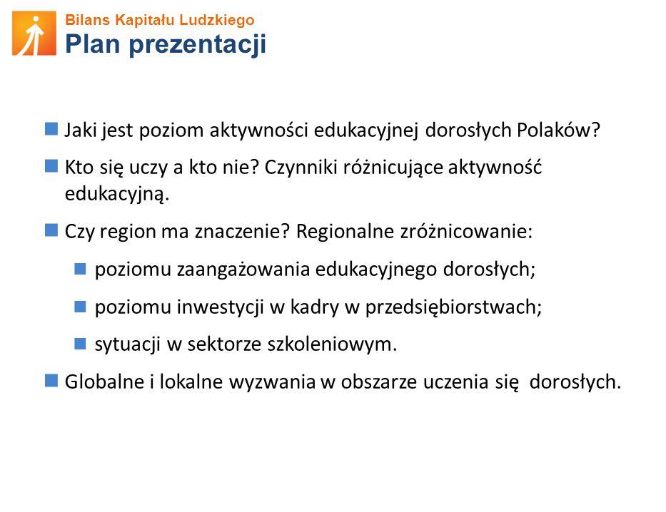 Bilans Kapitału Ludzkiego Plan prezentacji Jaki jest poziom aktywności edukacyjnej dorosłych Polaków.