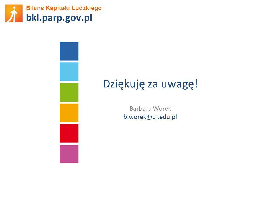 Bilans Kapitału Ludzkiego bkl.parp.gov.pl Dziękuję za uwagę! Barbara Worek b.worek@uj.edu.pl
