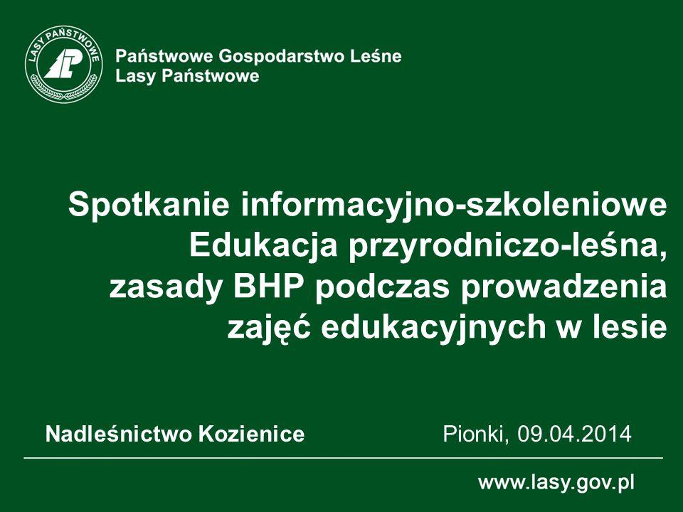 22 Wieloletnia praktyka prowadzenia zajęć edukacyjnych w lesie, pozwoliła na zidentyfikowanie różnorakich zagrożeń czyhających na uczestników zajęć (głównie dzieci i młodzież).