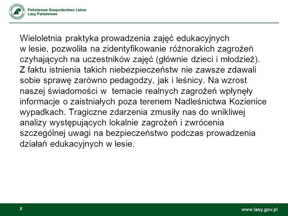 33 Pragniemy zaznaczyć, iż wskazywanie przez nas zagrożeń absolutnie nie ma na celu zniechęcenia pedagogów do organizowania wycieczek leśnych, czy innych zajęć edukacyjnych na naszym terenie.