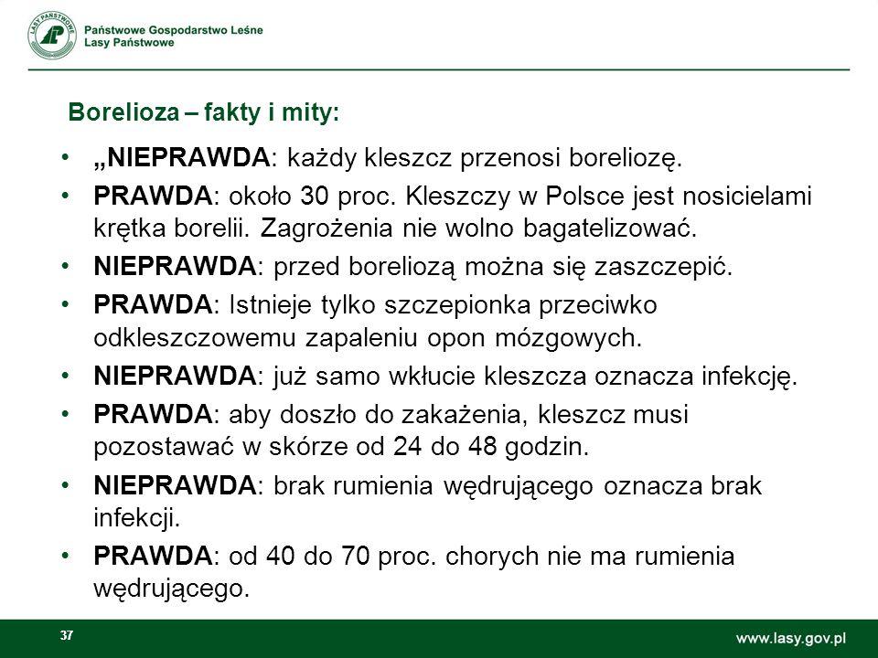 """37 Borelioza – fakty i mity: """"NIEPRAWDA: każdy kleszcz przenosi boreliozę. PRAWDA: około 30 proc. Kleszczy w Polsce jest nosicielami krętka borelii. Z"""