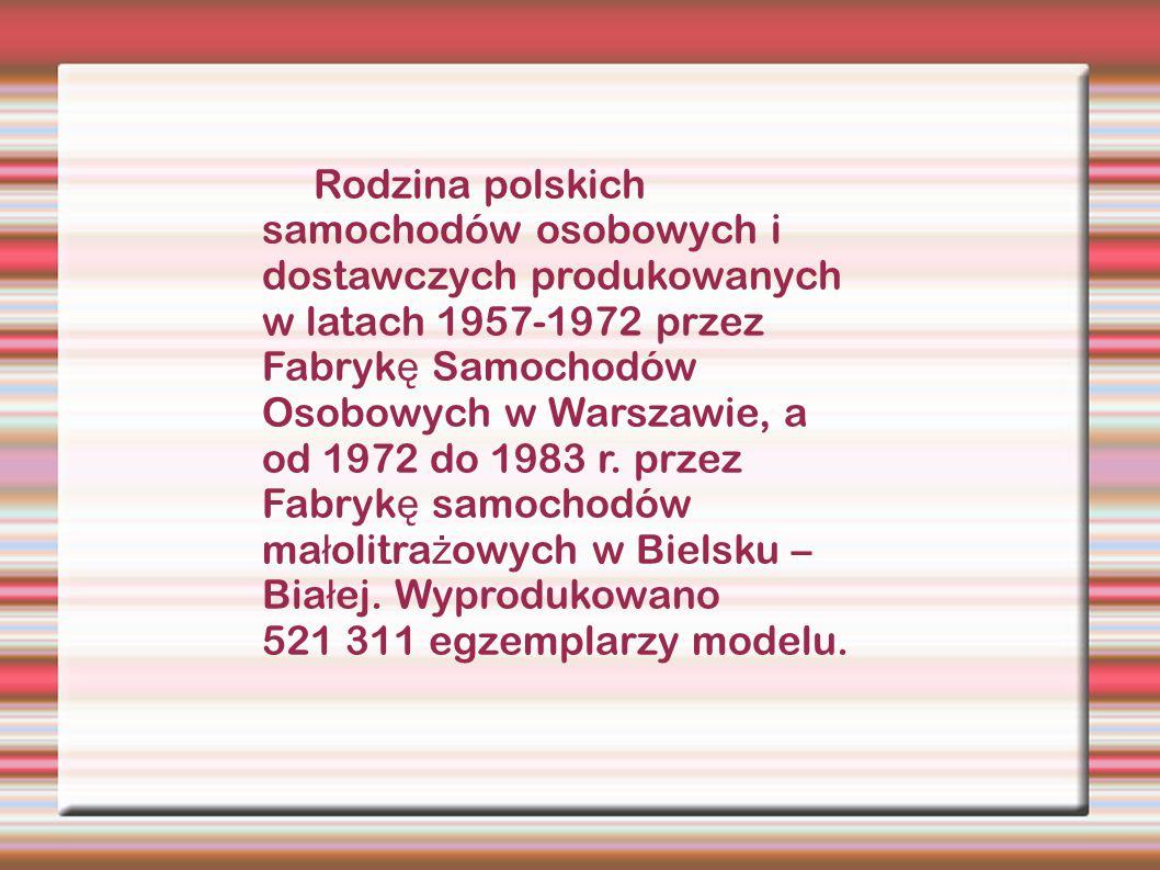 Rodzina polskich samochodów osobowych i dostawczych produkowanych w latach 1957-1972 przez Fabryk ę Samochodów Osobowych w Warszawie, a od 1972 do 198