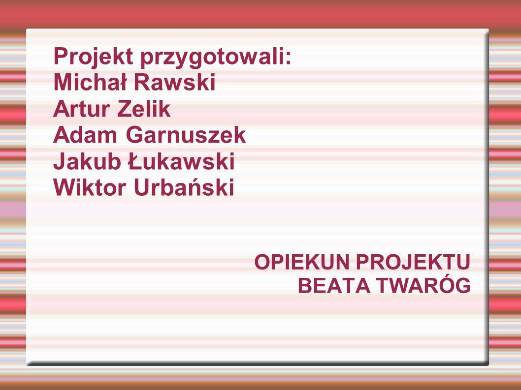 OPIEKUN PROJEKTU BEATA TWARÓG Projekt przygotowali: Michał Rawski Artur Zelik Adam Garnuszek Jakub Łukawski Wiktor Urbański