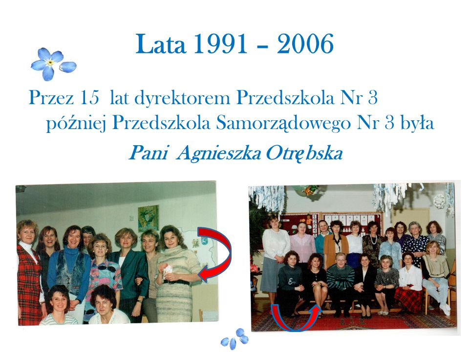 Lata 1991 – 2006 Przez 15 lat dyrektorem Przedszkola Nr 3 pó ź niej Przedszkola Samorz ą dowego Nr 3 by ł a Pani Agnieszka Otr ę bska