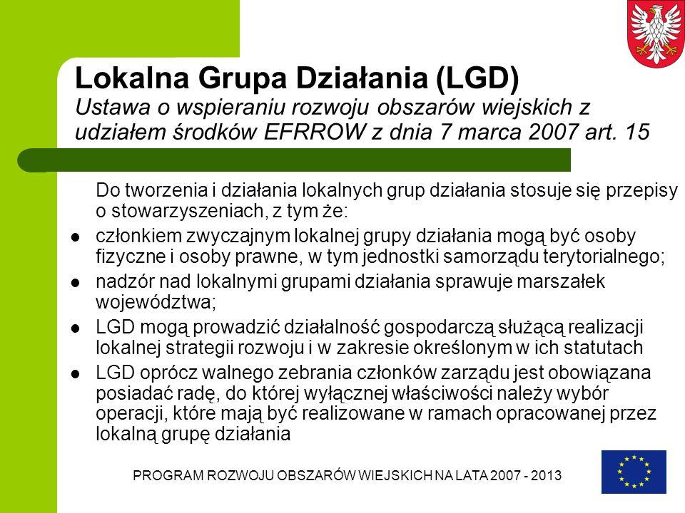 PROGRAM ROZWOJU OBSZARÓW WIEJSKICH NA LATA 2007 - 2013 Lokalna Grupa Działania (LGD) Ustawa o wspieraniu rozwoju obszarów wiejskich z udziałem środków