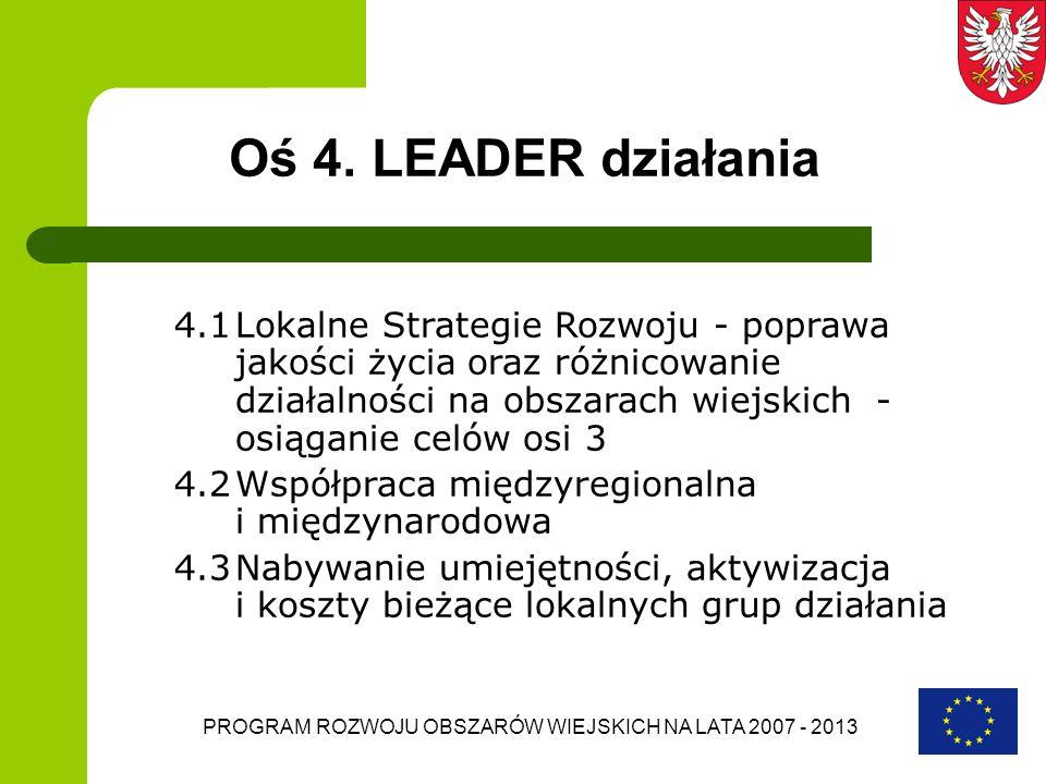 PROGRAM ROZWOJU OBSZARÓW WIEJSKICH NA LATA 2007 - 2013 Oś 4. LEADER działania 4.1Lokalne Strategie Rozwoju - poprawa jakości życia oraz różnicowanie d