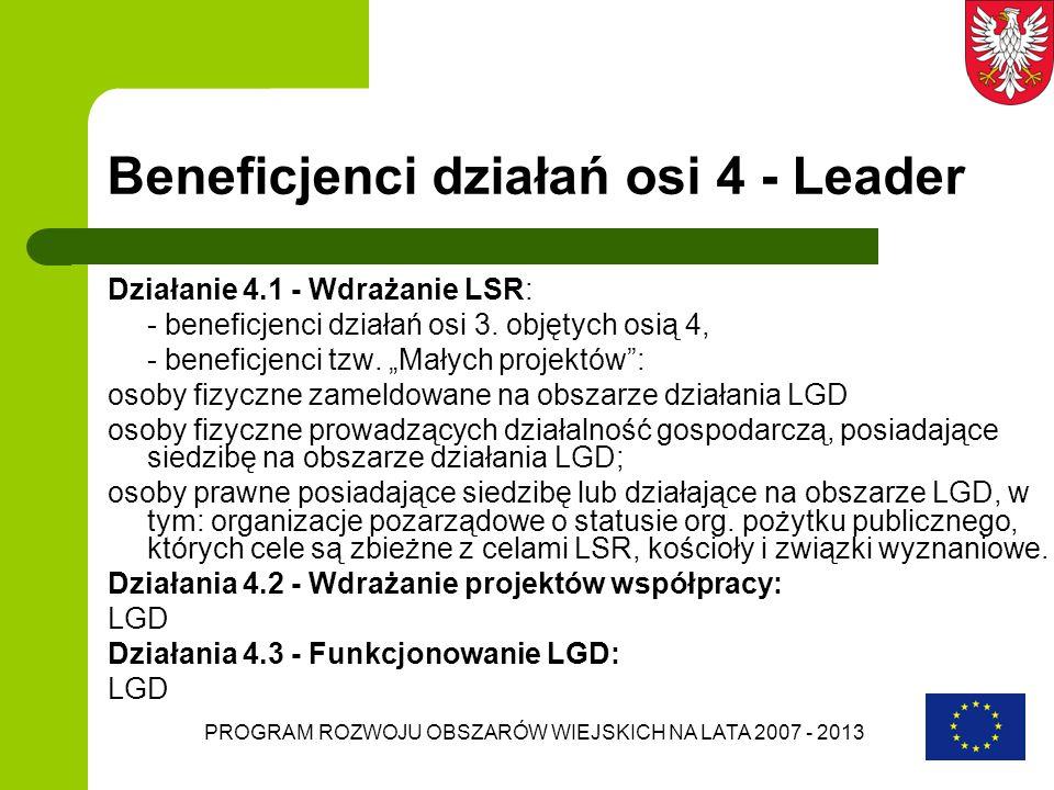 PROGRAM ROZWOJU OBSZARÓW WIEJSKICH NA LATA 2007 - 2013 Beneficjenci działań osi 4 - Leader Działanie 4.1 - Wdrażanie LSR: - beneficjenci działań osi 3