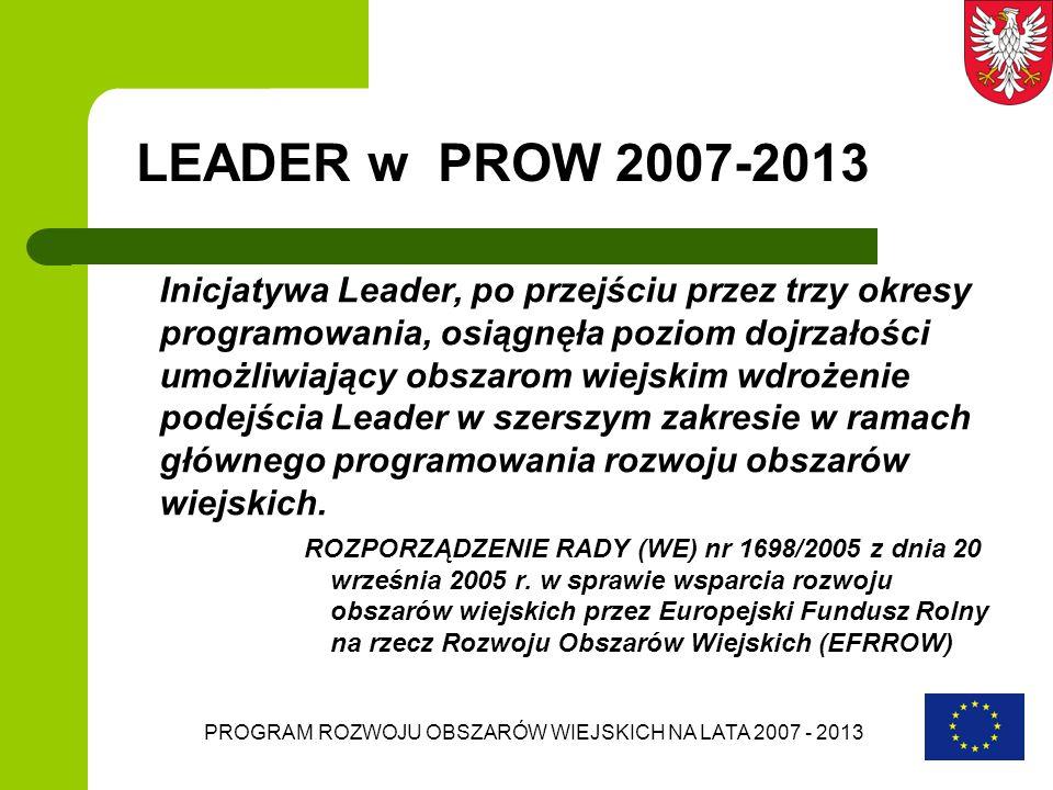 PROGRAM ROZWOJU OBSZARÓW WIEJSKICH NA LATA 2007 - 2013 LEADER w PROW 2007-2013 LEADER będzie wdrażany jako oś 4 PROW Zaangażowane znaczące środki – wraz z działaniami osi 3 realizowanymi przez oś 4 jest to 787 mln.