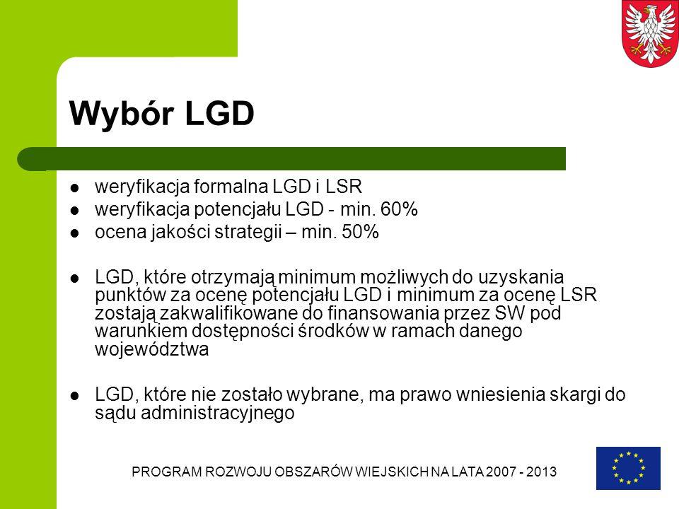 PROGRAM ROZWOJU OBSZARÓW WIEJSKICH NA LATA 2007 - 2013 Wybór LGD weryfikacja formalna LGD i LSR weryfikacja potencjału LGD - min. 60% ocena jakości st