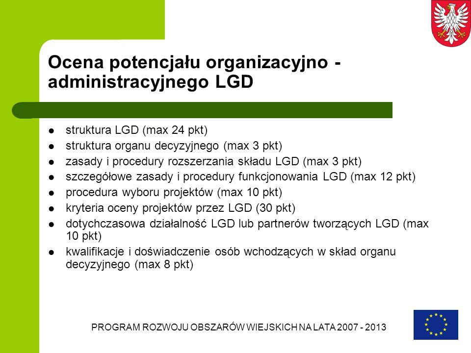 PROGRAM ROZWOJU OBSZARÓW WIEJSKICH NA LATA 2007 - 2013 Ocena potencjału organizacyjno - administracyjnego LGD struktura LGD (max 24 pkt) struktura org