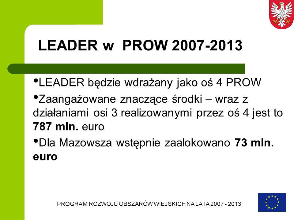 PROGRAM ROZWOJU OBSZARÓW WIEJSKICH NA LATA 2007 - 2013 LEADER w PROW 2007-2013 LEADER będzie wdrażany jako oś 4 PROW Zaangażowane znaczące środki – wr